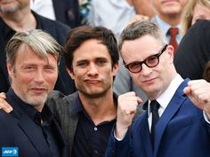 Mads Mikkelsen, Gael Garcia Bernal and Nicolas Winding Refn attend the 70th Anniversary Photocall during the 70th Annual Cannes Film Festival at Palais des Festivals on May 23, 2017 in Cannes, France.