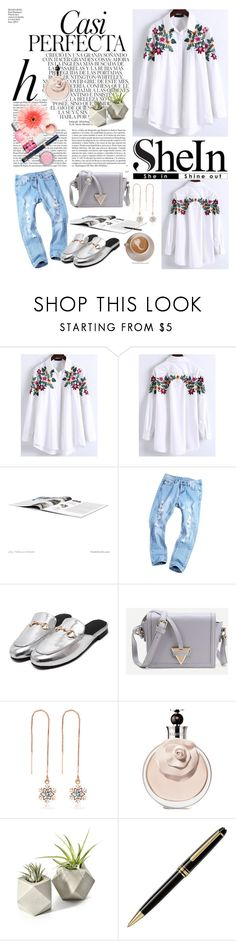 """SheIn(sheinside) White Floral Embroidery High Low Blouse"" by miss-maca ❤ liked on Polyvore featuring Whiteley and Montblanc"