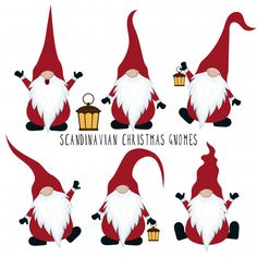 Christmas gnomes collection isolated on white background Premium Vector Christmas Rock, Christmas Gnome, Christmas Holidays, Christmas Decorations, Christmas Ornaments, Vector Christmas, Christmas Greetings, Scandinavian Gnomes, Scandinavian Christmas