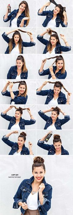 Best Hairstyles for Summer - Twisted Top Knot - Easy and Cute Hair Styles for Long, Medium and Short hair - Whether you have Black or Blonde Hair, Check Out The Best Styles from 2016 and 2017 - Tutorial for Braided Updo, Cute Teen Looks, Casual and Simple Styles, Heatless and Natural Looks for the Wedding - thegoddess.com/healthy-desserts-to-try