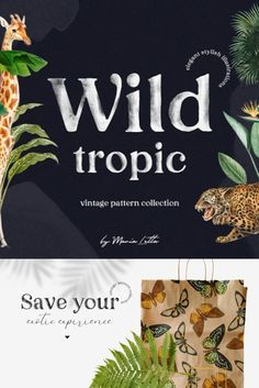 Introducing the Wild tropic vintage design collection with stylish seamless patterns, separate illustrations, pre-made compositions and luxury textures.