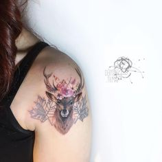 🌺🦌🌺🌿🍁#deer #flowers #colorful #illustration #tattoodesign #design #tattoo #ink #inked #bodyart #animal #portrait