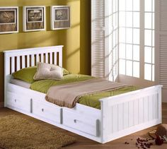 A traditional single bed with a beautiful pine construction and three drawers for practical storage space.  http://www.worldstores.co.uk/p/Mission_Storage_Bed_in_White.htm
