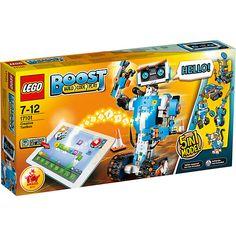 Mit LEGO BOOST, dem Programmierbaren Roboticset (LEGO-Nr.: 17101), kannst du nicht nur tollen Spielspaß erleben, sondern auch Vernie, den tollen sprechenden Roboter zum Leben erwecken. Dank der leicht bedienbaren Software kann sein Verhalten spielend einfach programmiert werden und mithilfe der Spielmatte können die Ergebnisse der Programmierung schnell in die Praxis umgesetzt werden. Vernie ist für jeden Spaß zu haben, die unterschiedlichsten Befehle setzt er lustig um. Bei Ansprache…
