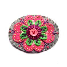 ELIZABETHAN felt brooch with freeform embroidery by designedbyjane