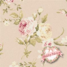 """Live Life 812735-B by Yuwa Fabrics: This incredibly beautiful and detail-oriented Yuwa fabric is from the Live Life collection. The fabric features a blush pink background with true pink, blush, cream and white rose bouquets as well as crisp greenery trailing through the background. Yuwa is a Japanese fabric manufacturer that creates some of today's highest-end and most sought after cottons.  This fabric is 44""""/45"""" wide, 100% cotton, imported from Japan. Yuwa Fabrics."""