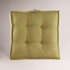 Green Khadi Tufted Floor Cushion