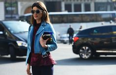 #Hanneli I just die over that pale blue Acne moto. #HanneliMustaparta in Paris. #TommyTon