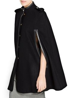 Wool-blend cape with leather details, epaulettes and funnel neck. Snap buttons down the front and side openings. Cape Jacket, Wool Cape, Funnel Neck, Wool Blend, Duster Coat, Raincoat, Jackets For Women, Couture, My Style