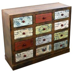 WOODEN DRAWER W/ MULTI COLOR DRAWERS 91X36X75- inart.com