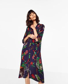 Image 4 of PRINTED SHIRT DRESS from Zara