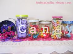 fill mason jars with various Easter candy to create a cute display in your home