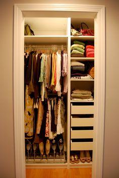 Spacious Closet Organization Ideas Using Walk-in Design : Fancy Small Closet Organization Ideas Beige Wall Paint