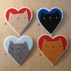 Items similar to grumpy kitteh heart brooches on Etsy Fabric Brooch, Felt Brooch, Brooch Pin, Fabric Crafts, Sewing Crafts, Sewing Projects, Cat Crafts, Kids Crafts, Arts And Crafts