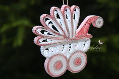 Items similar to Paper Quilling Pink and White Baby Carriage Ornament in a gift box, New Baby Keepsake, Baby Girl Keepsake Christmas Babyshower Mothers Day on Etsy Art Quilling, Quilling Patterns, Quilling Cards, Quilling Designs, Quilling Ideas, Quilling Flowers, Bird Ornaments, Snowflake Ornaments, Christmas Ornaments