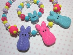 Polymer Clay Easter Peep Necklace Bracelet Childrens Boutique