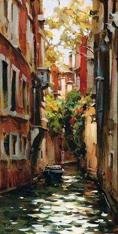 Dmitri Danish Original Oil - A Quiet Place Venice