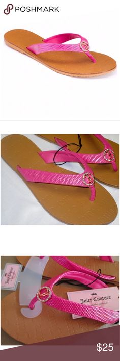 142bf308e0c067 Juicy Couture Pink Rhinestone Thong Sandals M