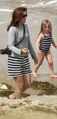 Danish twin Princess Josephine with her mother Crown Princess Mary enjoys the seaside with her children at Tilsvede Beach, in July 2014
