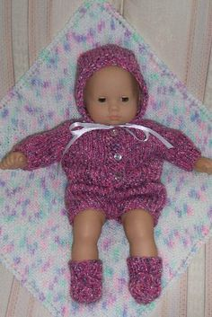 American Girl Doll Knitting Patterns Bitty Baby Layette Set (made the bonnet with a crochet chain string)