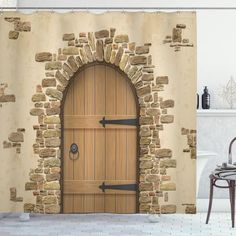 Wine Cellar Architecture Shower Curtain – joocarhome Rustic Shower Curtains, Shower Curtain Sets, Curtain Store, Arch Architecture, Bathroom Decor Sets, Square Tables, Wine Cellar, Entrance