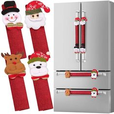 D-FantiX Refrigerator Door Handle Covers Set of 8 Santa Snowman Kitchen Appliance Covers Fridge Microwave Oven Dishwasher Door Handle Protector Christmas Decorations Christmas Store, Red Christmas, Christmas Humor, Christmas Crafts, Christmas Ornaments, Christmas Ideas, Snowman Tree Topper, Tree Toppers, Funny Christmas Decorations