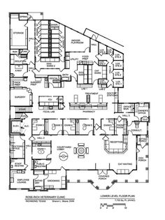 """love the large waiting area, seperate cat/dog spaces. the wrap around porch is also a great highlight, it might be nice to make the """"sitting porch"""" accessable to the consult/comfort room. would want back entrance for boarding purposes pick up/drop off specifically so that clients did not have to walk through the hospitalization area to preview kennels.  