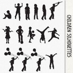Children Clip Art Kids Silhouette Graphics Clipart Scrapbook Digital Download Playing Girls Boys Balloon Transparent PNG Printable