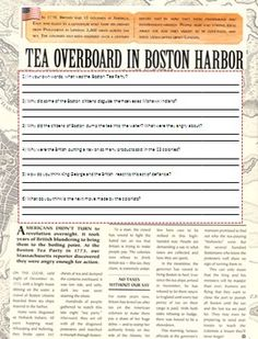In this lesson students will learn about The Boston Massacre and The Boston Tea Party, and how these two events helped bring about the beginnings of the American Revolution. Throughout the lesson there is a writing prompt, graphics, illustrations, graphic organizers and comprehension questions for students to complete.