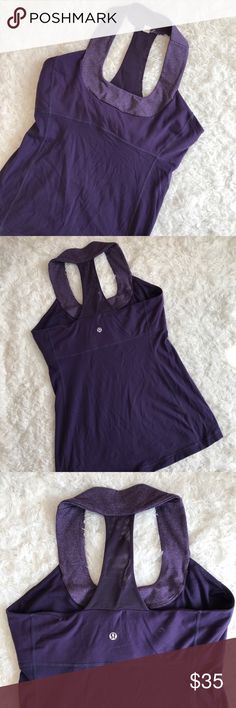 Lululemon Purple Violet Scoop Neck Mesh Tank 10 In pre used good condition - shows wear and wash but no significant flaws. Removable bra cups are not included. lululemon athletica Tops Tank Tops