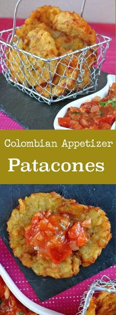 Patacones, also called tostones, are green plantains flattened then fried, often served with hogao, a creole sauce. #vegetarian #vegan #glutenfree