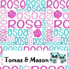 Rose Minky Name Personalised Blanket Design. Choose your own, images, colours and name. Cot size $120 pp. Find us on FB, Tomas & Mason :)