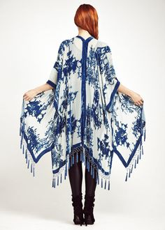 A N T I Q U E - B L E U Drape yourself in this dreamy bohemian blue velvet fringe kimono.  Featuring antique blue velvet distressed chandelier design on