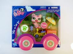 Littlest Pet Shop LPS 1846 Licking Cat Pink Tricycle ' Pets On The Go' - NIP