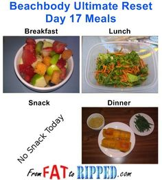 Beachbody Ultimate Reset Day 17 Meals
