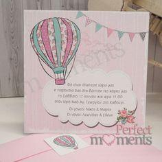 Προσκλητήριο Βάπτισης Αερόστατο Diy And Crafts, Cards, Party, Maps, Playing Cards