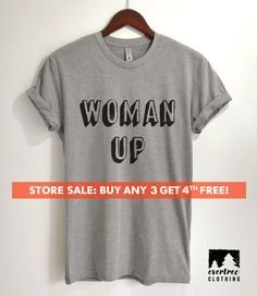 9554d054 Woman Up T-shirt, Ladies Unisex Crewneck, Cute Girl Power T-shirt, Feminist  T-shirt, Short & Long Sl