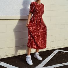 bf0d4bde4ea2 Vintage 90s red floral prairie style dress Fashion Dresses