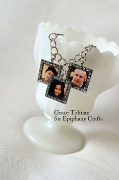Create a Mother's Day Bracelet with the #epiphanycrafts Shape Studio Tool Square available at #MichaelsStores and Rhinestone Charms. www.epiphanycrafts.com #mothersday #jewelry #bracelet #DIY