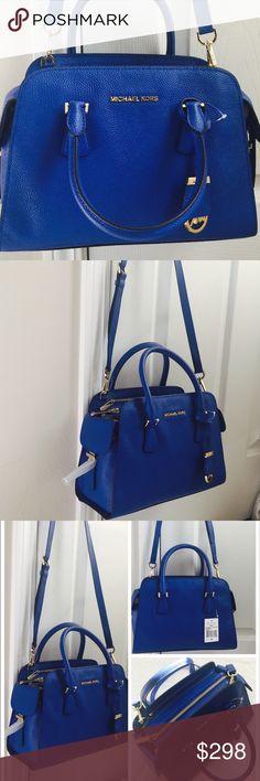 Michael kors Harper medium satchel Brand new with tag. Dust bag included. 12W x 8H x 5D. Color: Electric blue. No trades  Michael Kors Bags Satchels