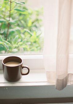 Coffee mug on cottage window sill #cupamonth www.cupamonth.com