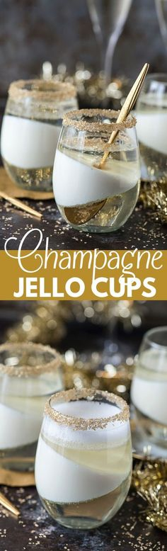 Easy champagne jello recipe that would be a perfect dessert for New Year's Eve! Easy champagne jello recipe that would be a perfect dessert for New Year's Eve! Jello Desserts, Jello Recipes, Party Desserts, Just Desserts, Dessert Recipes, Cheesecake Desserts, Dessert Aux Fruits, Dessert Cups, Dessert Shots