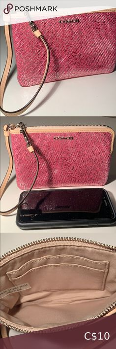 """Coach Metallic Pink Wristlet Metallic Pink with leather trim. Holds 2 cards inside. Approximately 6.25"""" by 4.25"""" Additional pocket on the back. Strap clips on one side. Great condition. Coach Bags Clutches & Wristlets Clutch Wallet, Leather Clutch, Coach Purses, Coach Bags, Leather Evening Bags, Metallic Pink, Leather Gloves, Pink Leather"""