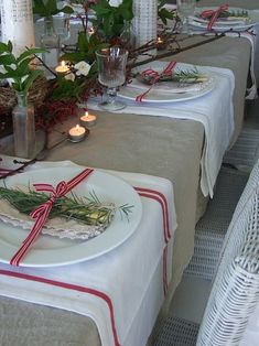 Christmas tablescape by Gingervint I like the idea of the sprig of holly or fresh rosemary tied to the plate. It's definitely going on my Christmas table settings shortlist :-) 140325 Noel Christmas, Country Christmas, Winter Christmas, All Things Christmas, Simple Christmas, Beach Christmas, Burlap Christmas, Beach Holiday, Christmas Wedding