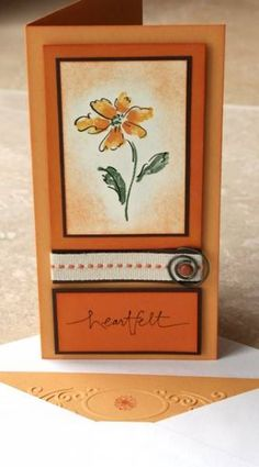 Heartfelt Marigold Morning by splicedcenterstamp - Cards and Paper Crafts at Splitcoaststampers Scrapbook Cards, Scrapbooking, Stamping Up Cards, Cards For Friends, Card Sketches, Sympathy Cards, Creative Cards, Cool Cards, Flower Cards