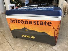 Frat cooler Arizona state university ASU Patagonia mountain Fraternity Gifts, Fraternity Coolers, Frat Coolers, Formal Cooler Ideas, Cooler Painting, Pi Beta Phi, Arizona State University, Dad Gifts