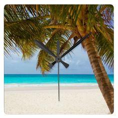 Tropical Paradise Beach Square Wallclocks