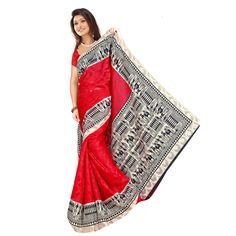 Red  Colour Patola Jacquard Saree Sarees on Shimply.com