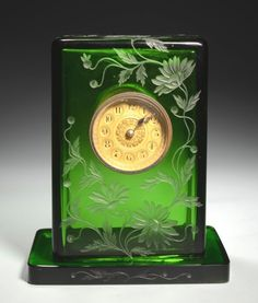 Vintage mold blown green Bohemian glass  clock with floral engravings