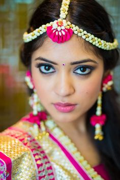 Bride wearing Fresh flower jewelry